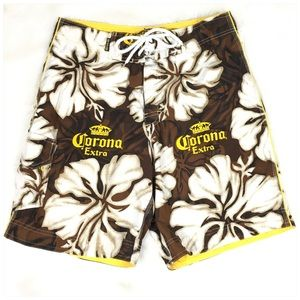 Corona Extra Brown Yellow Swim Shorts Size Medium